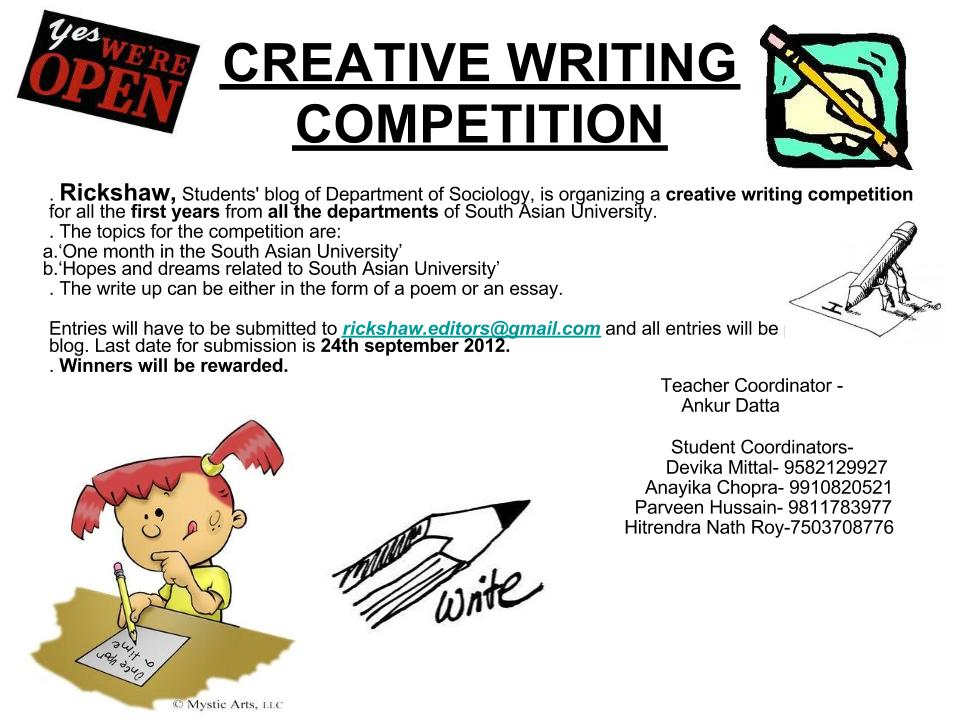 creative writing competition Find details about every creative writing competition including poetry contests, short story competitions, essay contests, awards for novels, grants for translators, and more that we've published in the grants & awards section of poets & writers magazine during the past year.